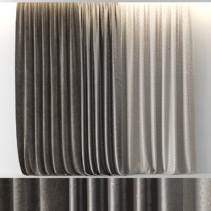 brown velour curtains 3D model