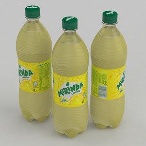 3D beverage bottle mirinda lemon model