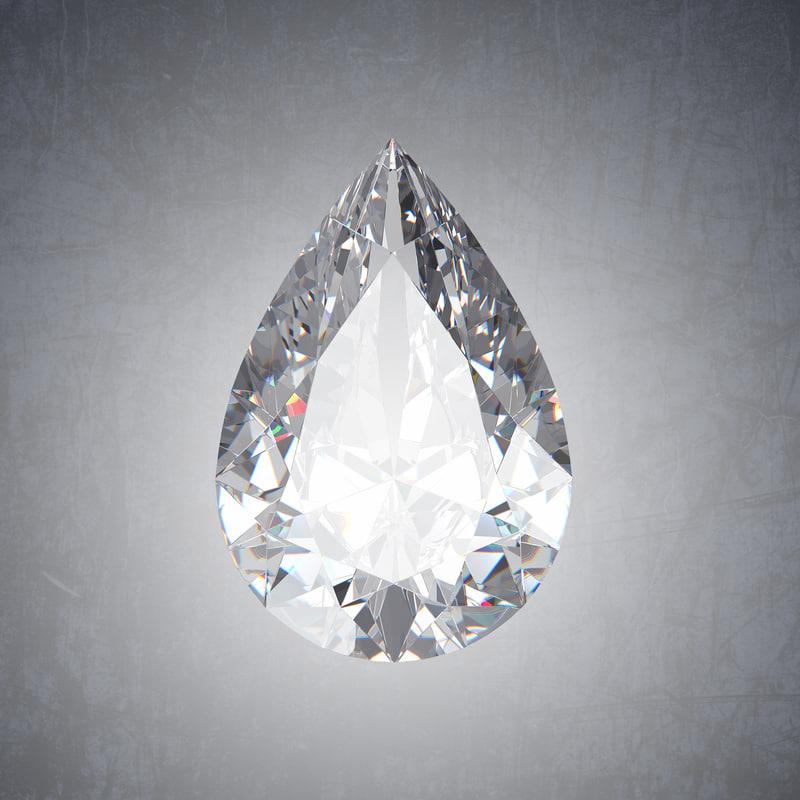 3D pear diamond