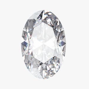 oval diamond 3D