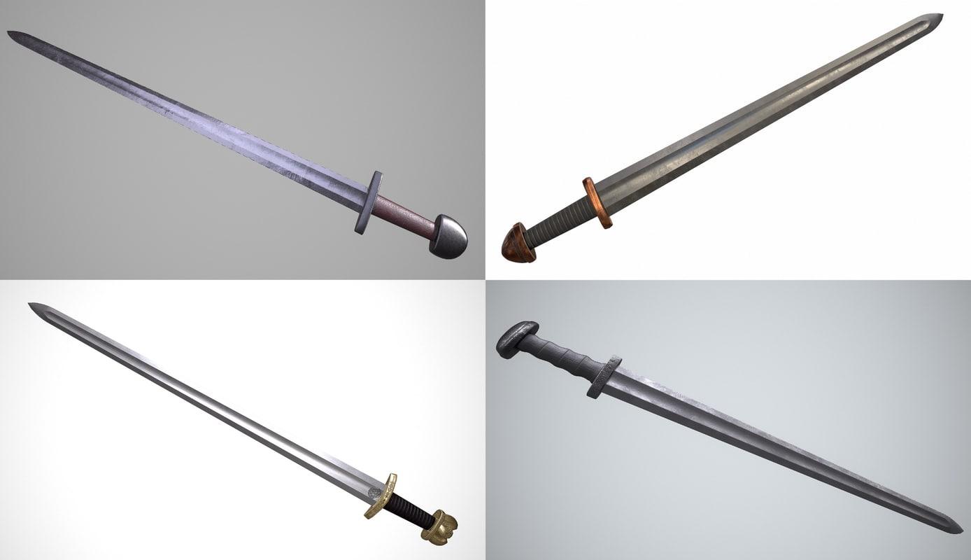 3D model viking swords pack 1
