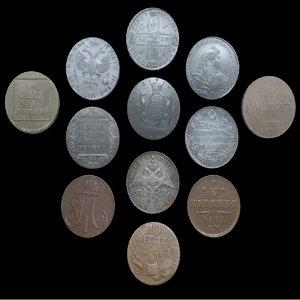 russian empire coins 3D model