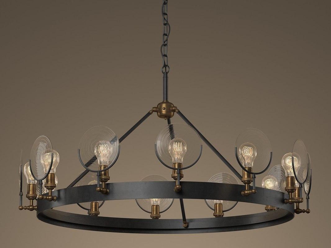 gaslight lens chandeliers n 3D model