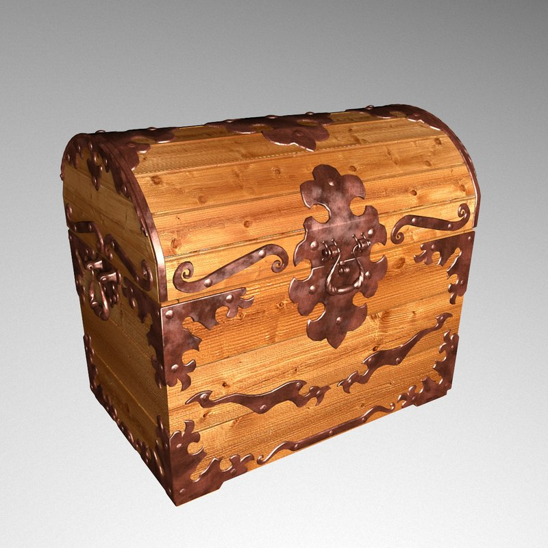 3D old wood chest