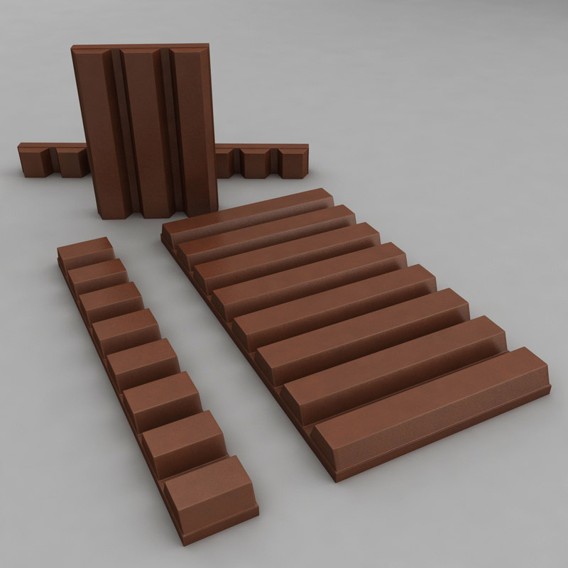 3D brown chocolate bars pieces model