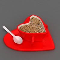 heart shape coffee cup 3D model