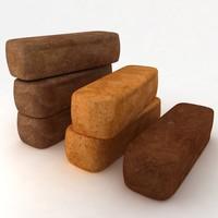 3D model single brown yellow bread