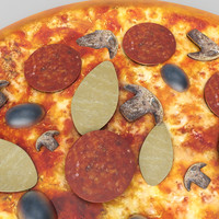 3D mushroom pan pizza model