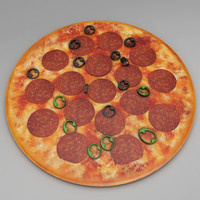 3D pepperoni pan pizza model