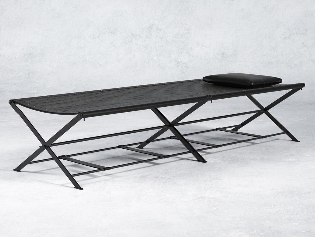folding camp bed n 3D model