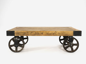 industrial cart coffee table 3D