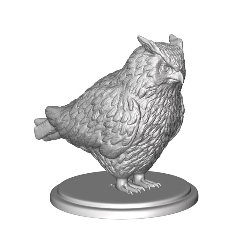 3D owl sculpture model