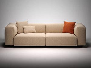 3D model soft modular sofa