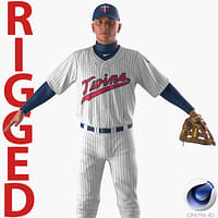 baseball player rigged twins 3D