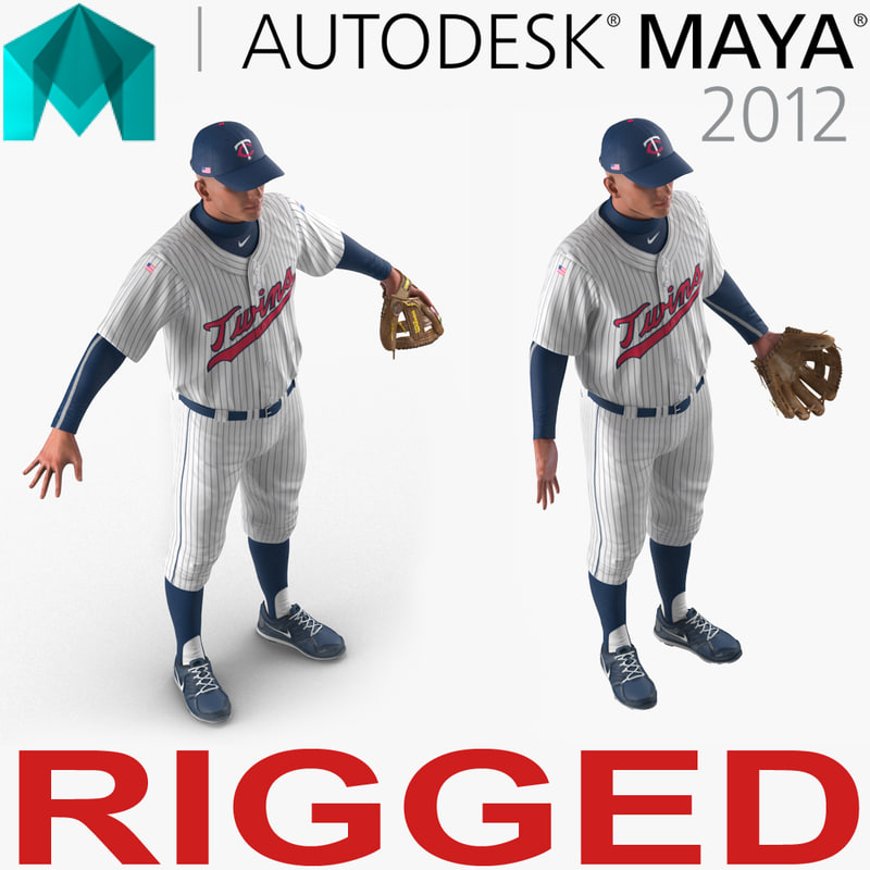 baseball player rigged twins model