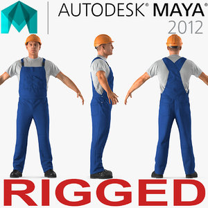 3D model construction worker rigged works