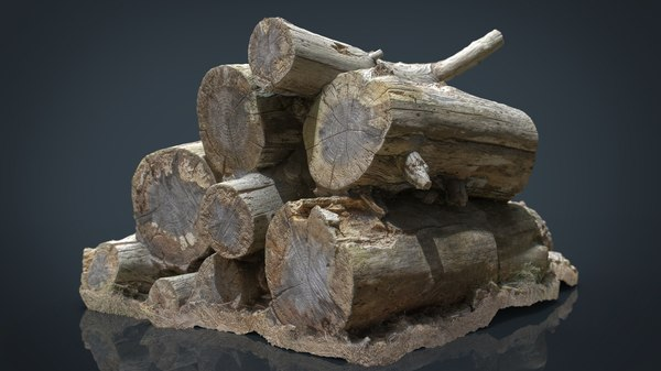 3D realistic wooden logs model