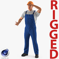 construction worker rigged works 3D model