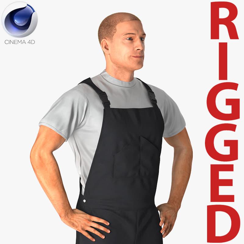 worker wearing black overalls 3D