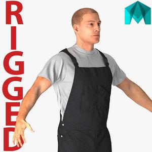 3D worker wearing black overalls model