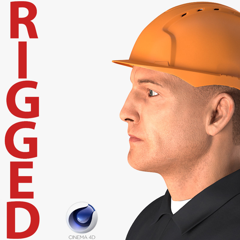 3D model worker hardhat rigged