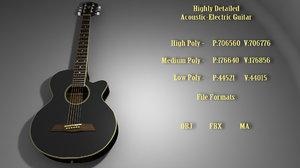 acoustic electric guitar 3D model