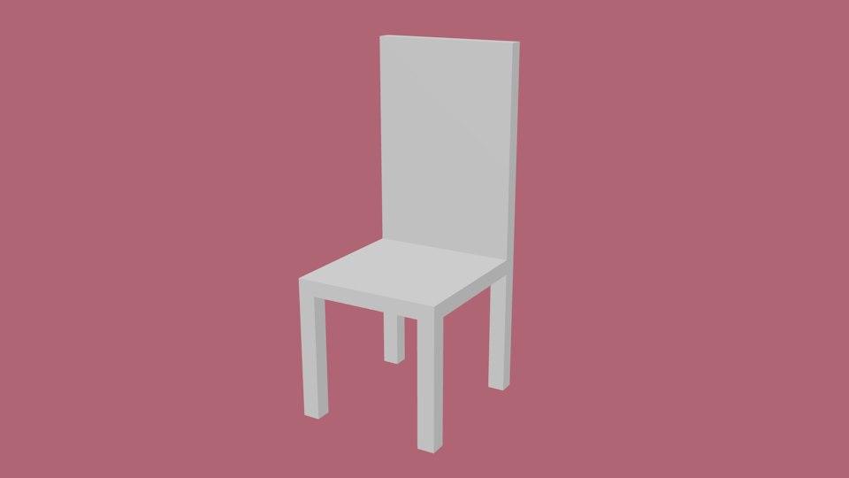 3D white chair