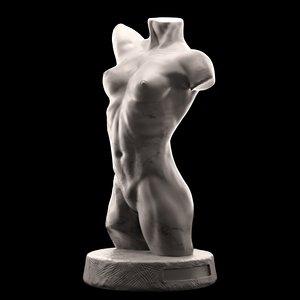 3D female torso sculpture model