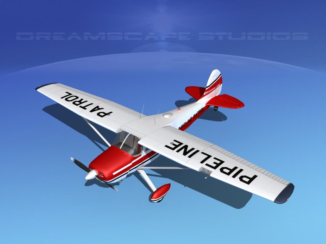 3D propeller cessna airplane 170 model