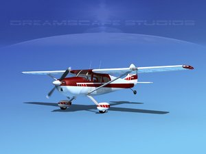 3D propeller cessna airplane 1956