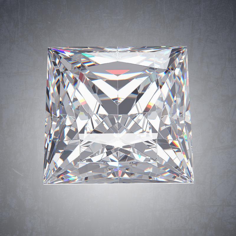 3D model princess diamond