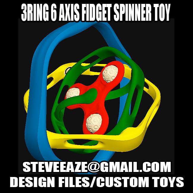 3D spinner spin fidget model