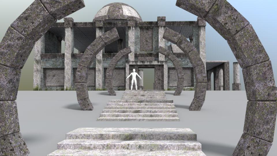 desolate temple 3D model