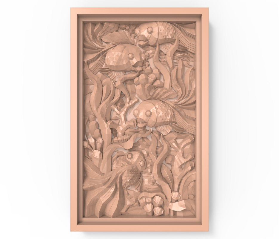 3D bas relief fishes seaweed model