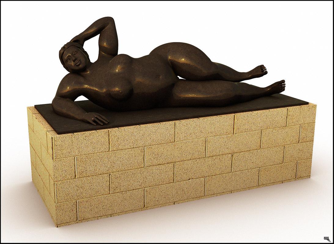 statue fat woman 3D model