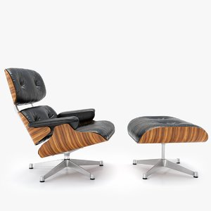 3D model vitra lounge chair ottoman
