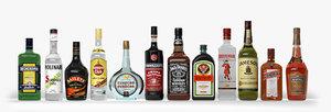 3D alcohol bottles model