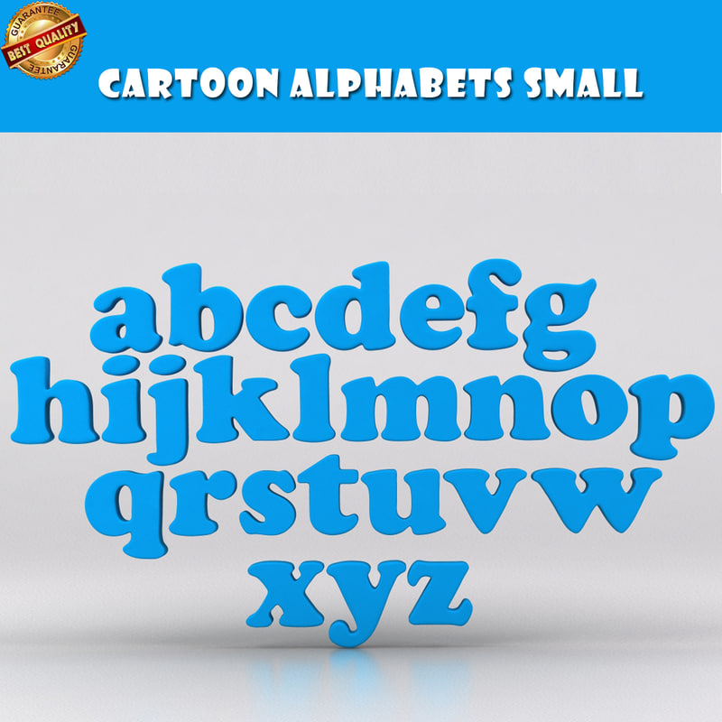 cartoon roman letters 3D model