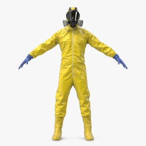 yellow hazmat worker clothes 3D model