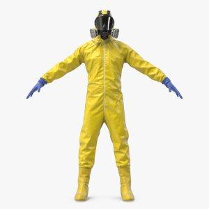 yellow hazmat worker clothes 3D model