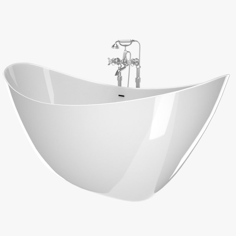 vintage bathtub hylton white 3D model