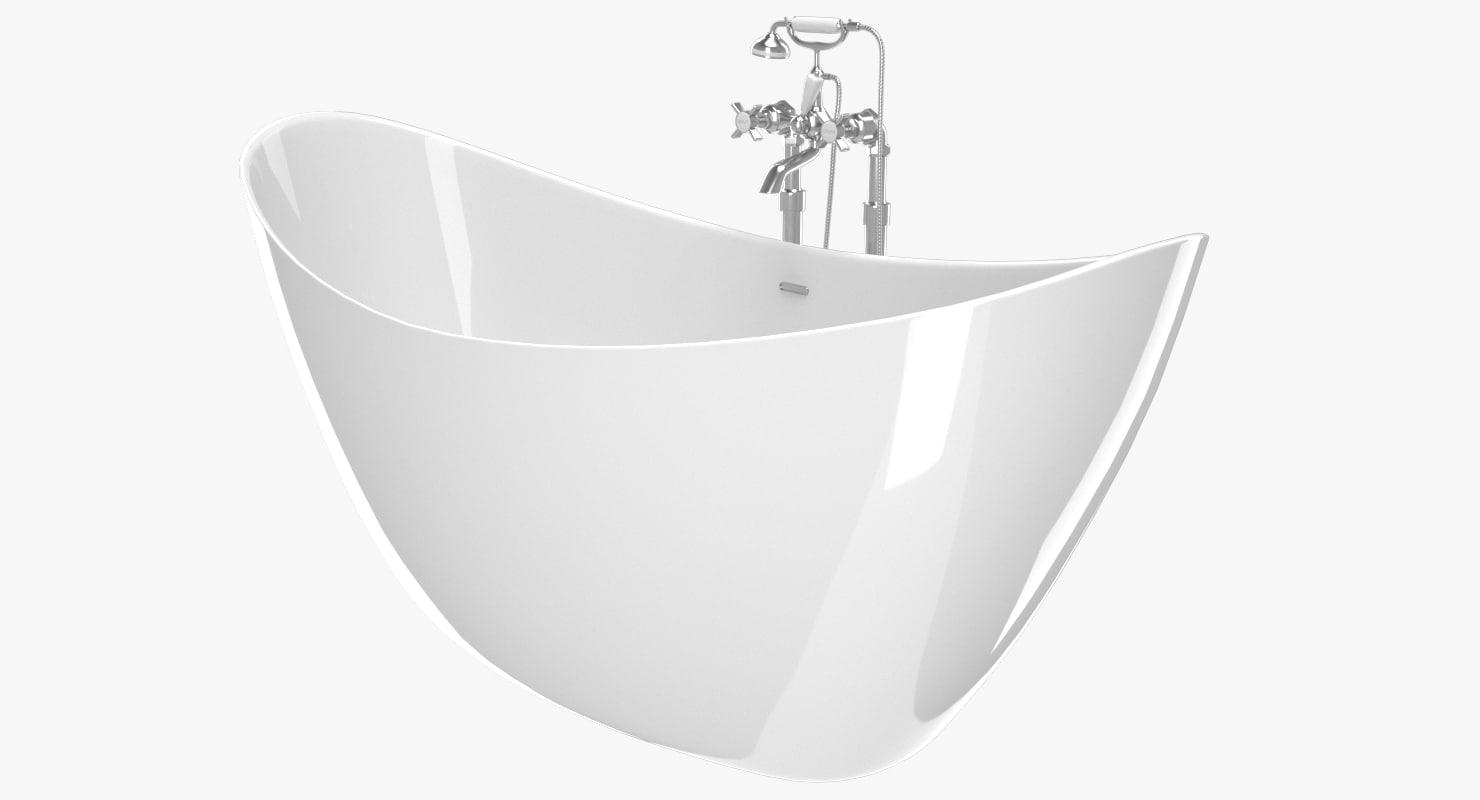 vintage bathtub hylton white 3D model
