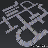 3D modular road set hd model
