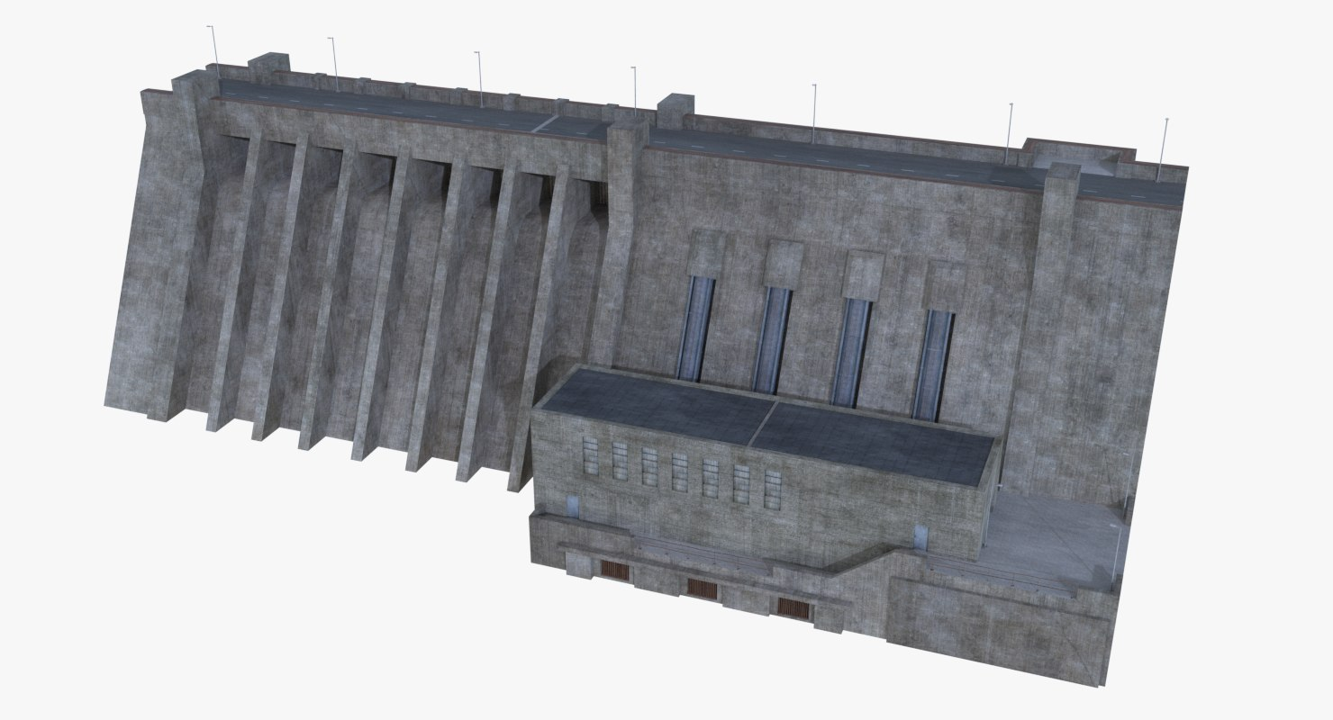 hydroelectric dam 3D