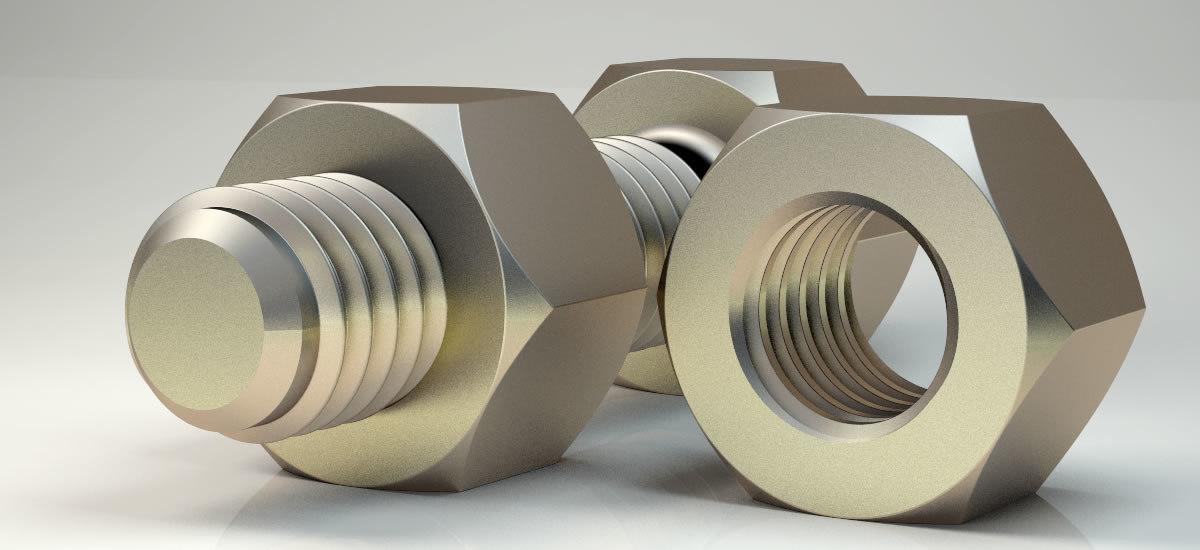 3D model bolt nut original sizes