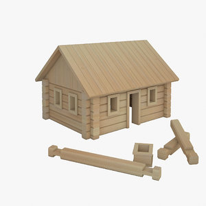 3D wooden house toy model
