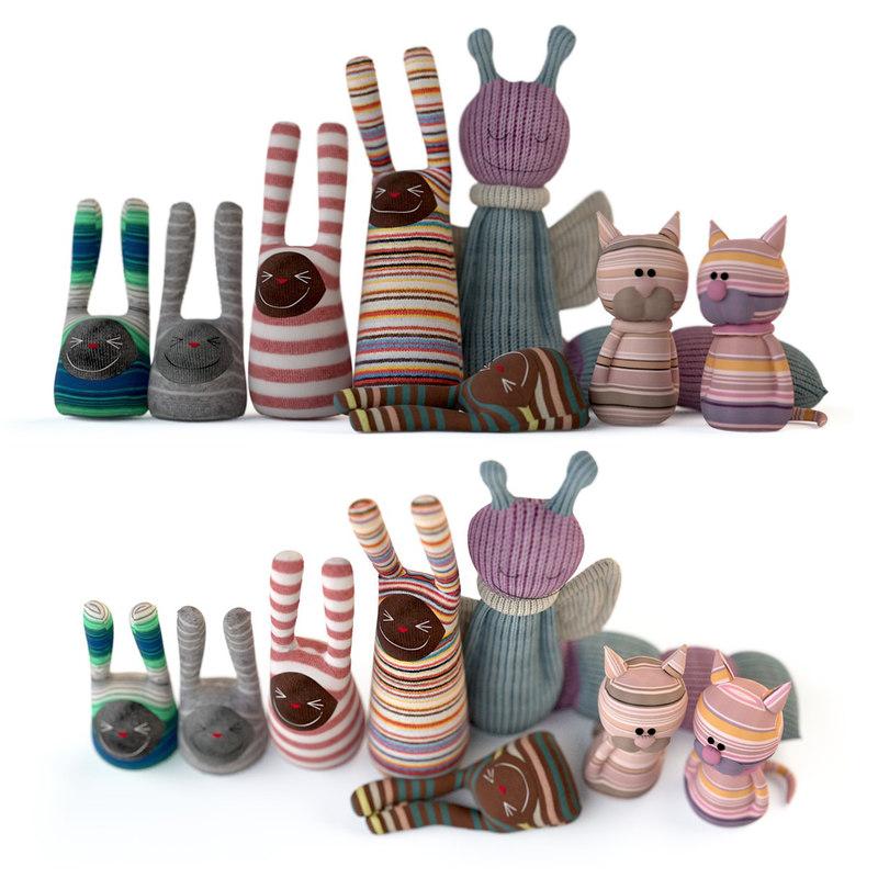 cats rabbits toys 3D