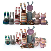 A set of textile toys from socks (cats, rabbits, caterpillars)