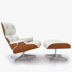 vitra lounge chair ottoman 3D model