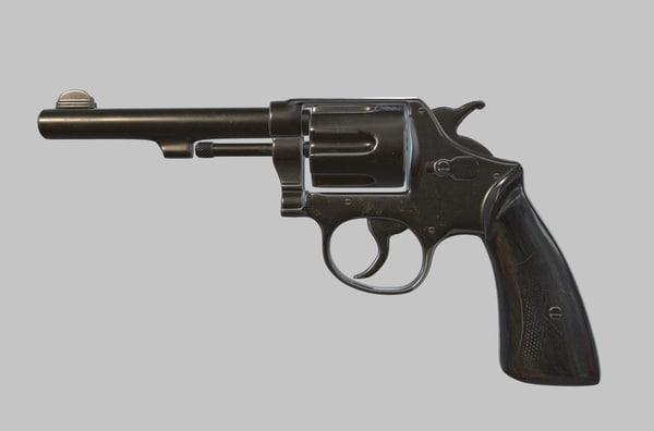 3D pbr revolver modeled